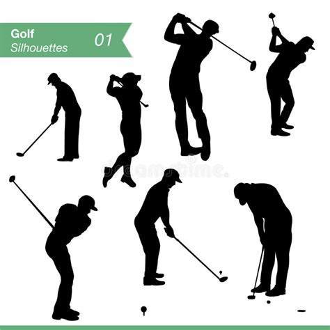 golf swing vector golf silhouettes vector set stock vector image 33623312