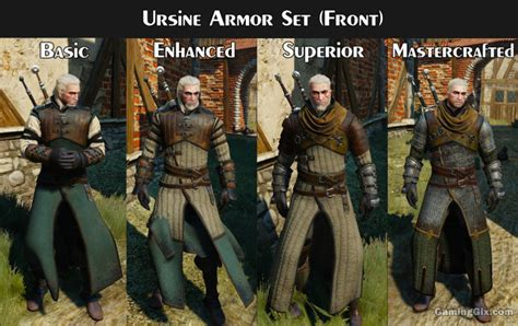 ursine superior witcher 3 armor location witcher armor set looks visual comparison on each tier