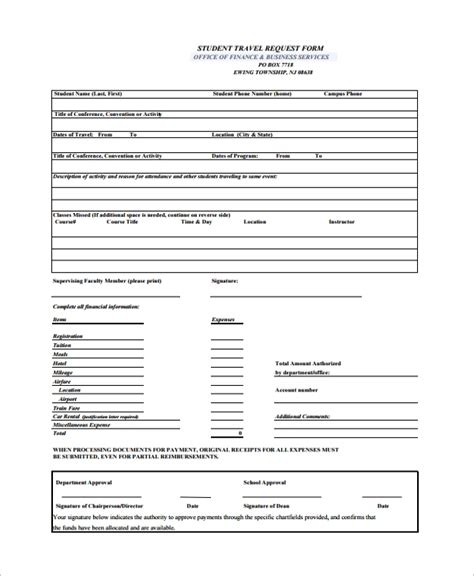 10 Travel Request Forms Sle Templates Request For Template Doc