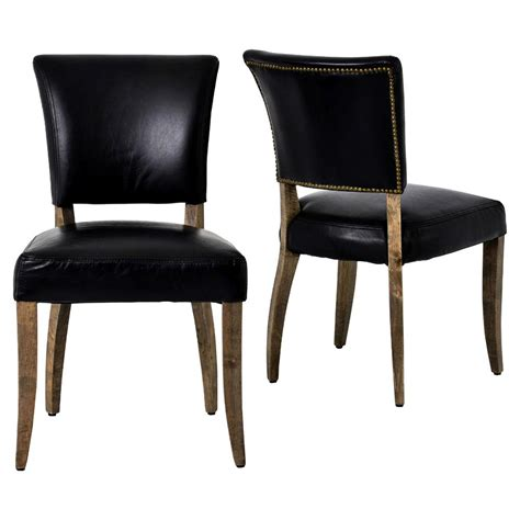 Modern Classic Dining Chairs Melba Modern Classic Black Leather Dining Chair Pair Kathy Kuo Home