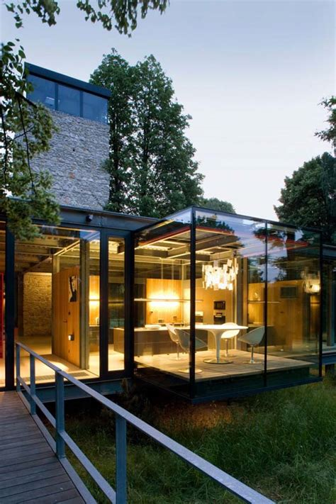 stunning house with fully glazed steel frame structure