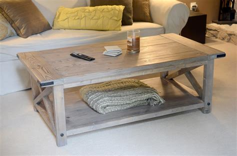 white rustic x coffee table with bread boards diy