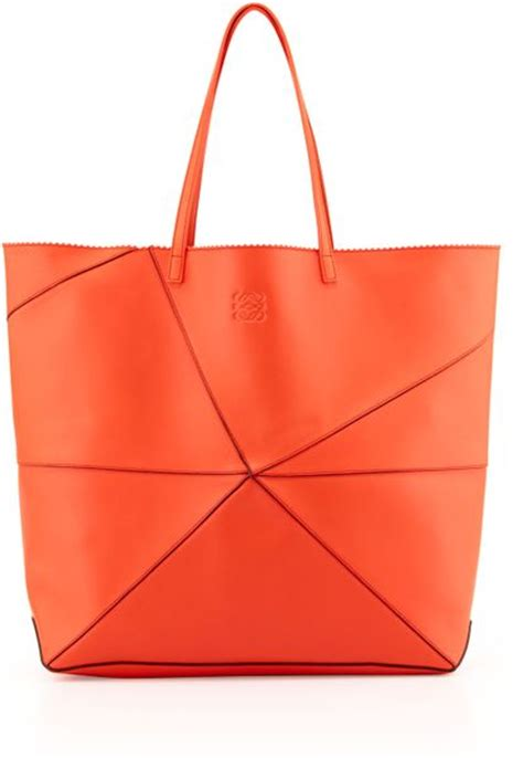origami tote bag loewe lia origami leather tote bag coral in orange coral