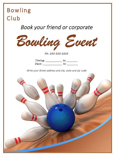 bowling match flyer template free flyer templates