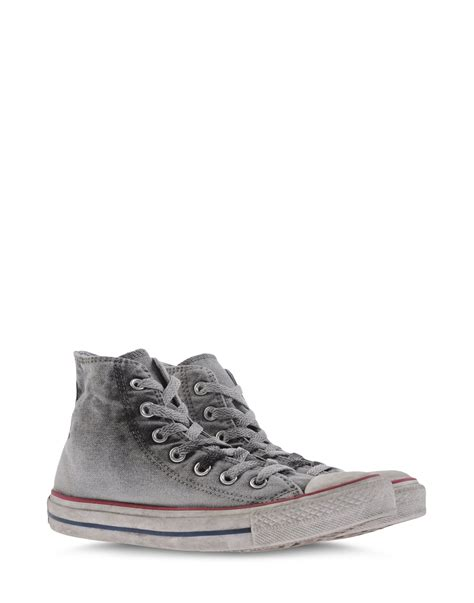 converse high tops trainers in gray light grey lyst