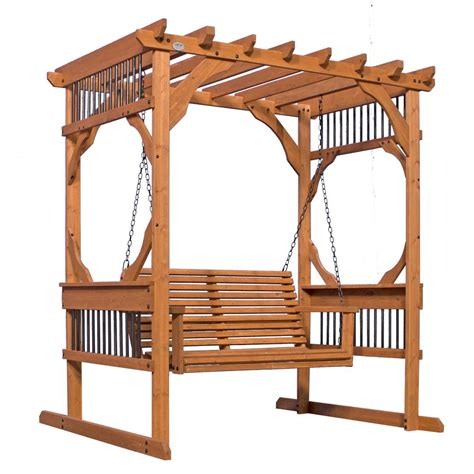 pergola swing backyard discovery 3 person wood patio pergola swing in