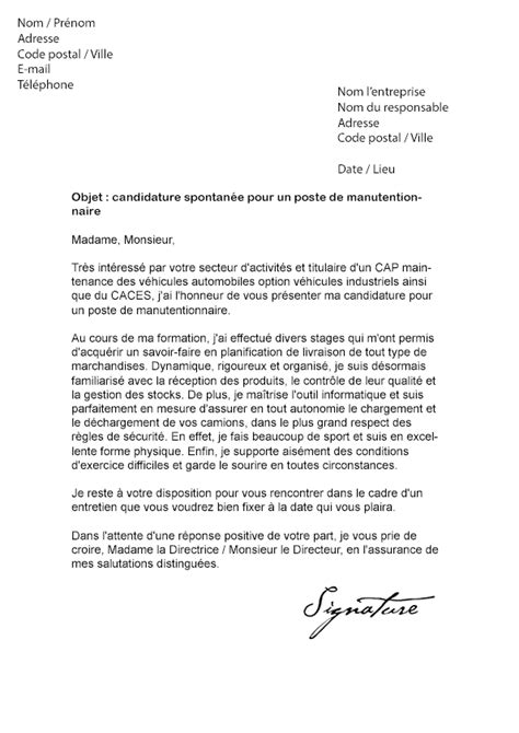 Lettre De Motivation Ecole Transport Logistique Lettre De Motivation Manutentionnaire Mod 232 Le De Lettre