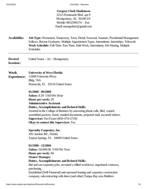 Usajobs Resume Sle by Usajobs Resume Help 28 Images Resume Exles Usa Resume