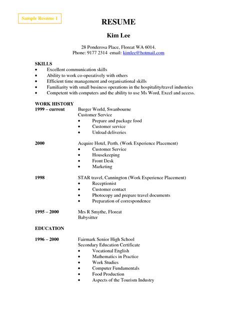 Basic Resume Template For High School Students