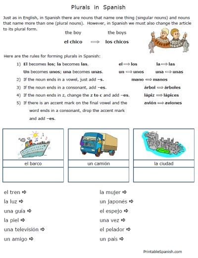 printable noun games for middle school simple short sweet free plurals in spanish