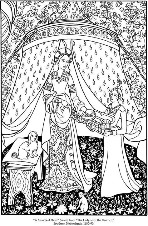 Tapisserie Medievale by Tapisserie M 233 Di 233 Vale Femme 224 La Licorne Coloriage
