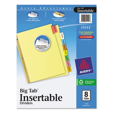 Avery 11111 Insertable Big Tab Dividers 8 Tab Letter Ave11111 Zumaoffice Avery Big Tab Template
