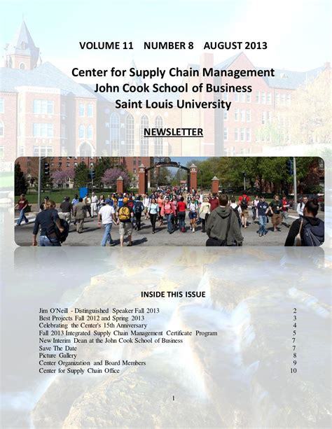 Slu Mba by Slu Cook School Of Business Center For Supply Chain