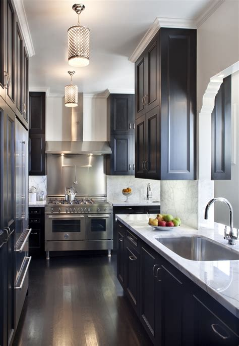 Galley Kitchen Cabinets One Color Fits Most Black Kitchen Cabinets