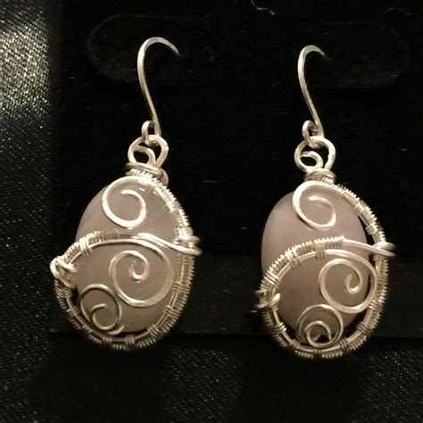 Handmade Studs - wire wrapped jewelry handmade quartz earrings bead and