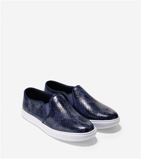 on sneakers lyst cole haan bowie slip on sneaker in blue