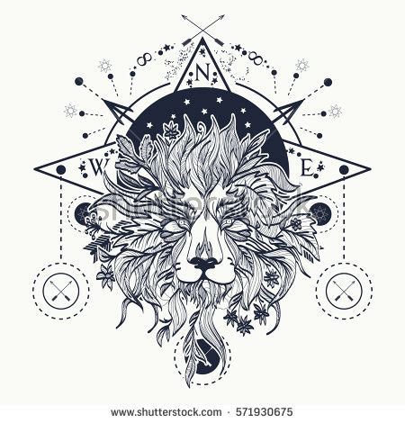 mystic lion tattoo art alchemy religion เวกเตอร สต อก