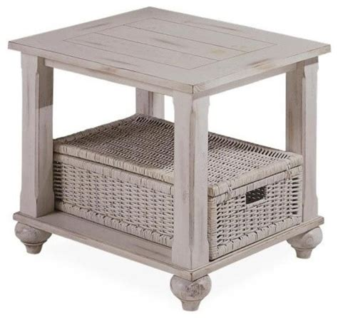 accent table with baskets treasures end table in white with wicker basket