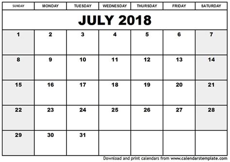 Printable Calendar July 2017 June 2018 | best calendar july 2017 through june 2018 2017 2018