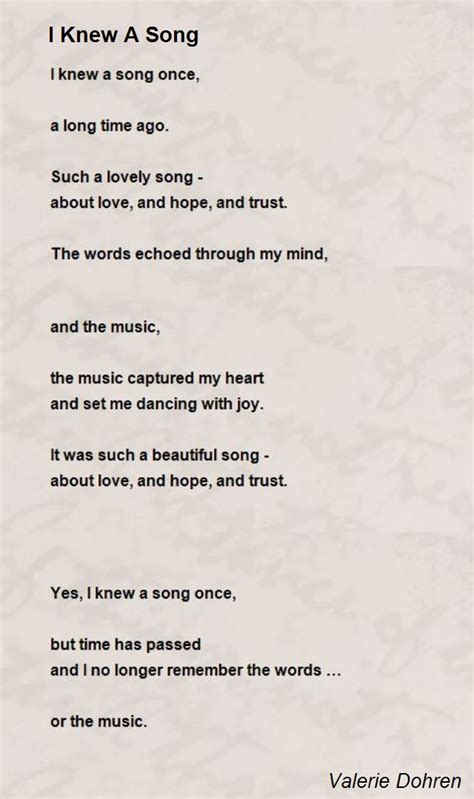 song poem i knew a song poem by valerie dohren poem