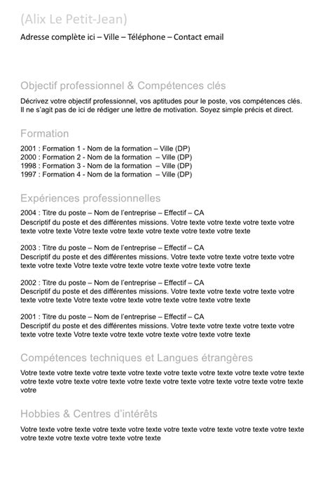 Modele Cv Simple Francais by Exemple De Cv Simple Gratuit 224 T 233 L 233 Charger