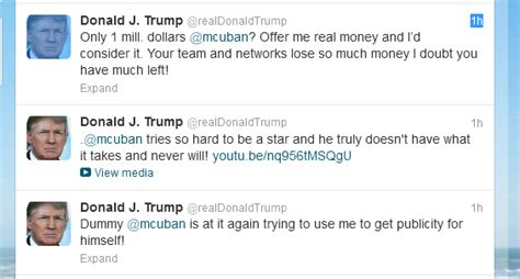 donald trump on twitter donald trump and mark cuban duke it out on twitter