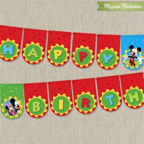 printable mickey mouse birthday banner disney mickey mouse clubhouse printable happy birthday banner