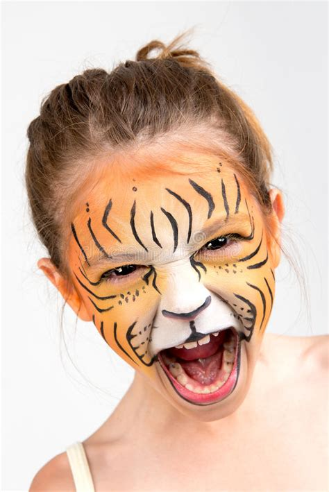 face painting tiger stock photography image