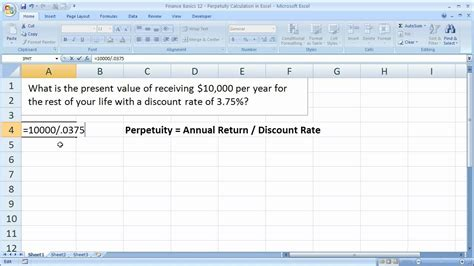 tutorial excel finance finance basics 12 perpetuity calculation in excel youtube