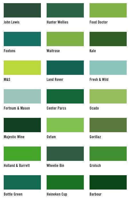 list of green colors i know this has a ton of different shades of green but