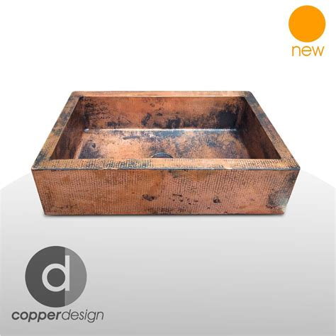 "Hammered Copper Apron Farmhouse Kitchen Sink 22""x16"
