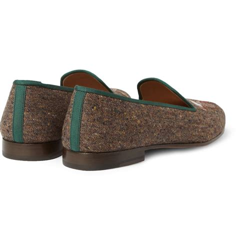 embroidered slippers lyst stubbs wootton embroidered tweed slippers in