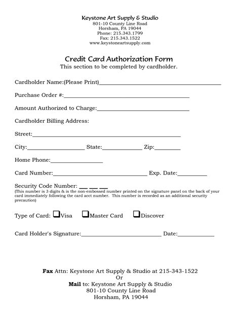 Credit Card Authorization Template by 5 Credit Card Form Templates Formats Exles In Word Excel