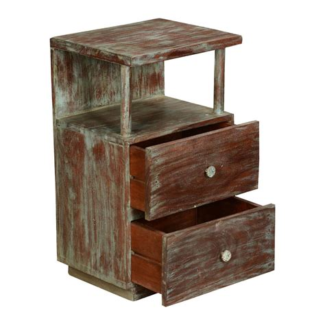 Distressed Wood Nightstand by Marea Distressed Reclaimed Wood 2 Drawer Nightstand
