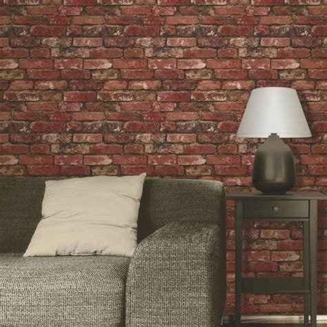 Living Room With Brick Effect Wallpaper Rustic Brick Effect Wallpaper 10m Decor Fd31285