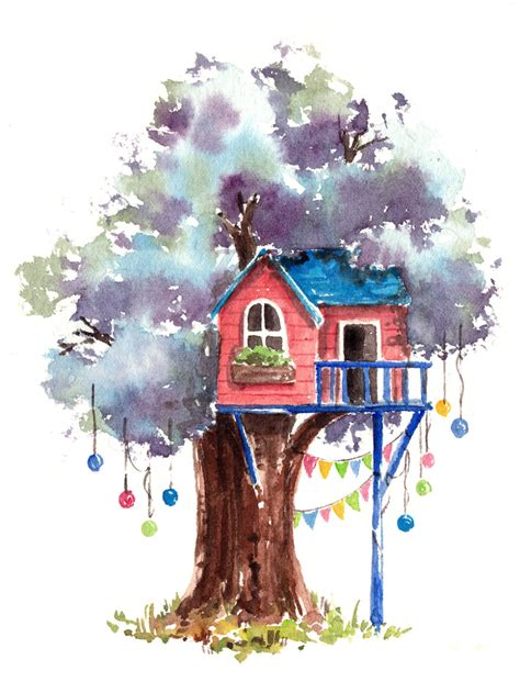 watercolor house painting watercolor home pinterest i use watercolours to paint whimsical tree houses bored