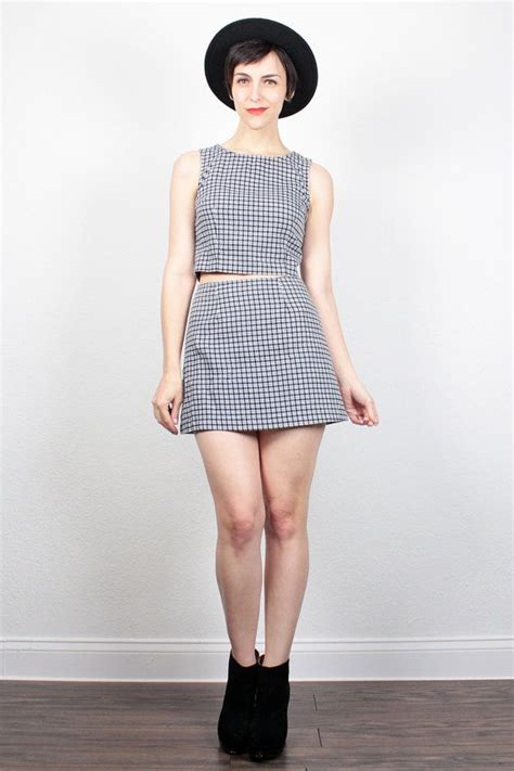 Minidress Top Belina vintage 90s black white plaid two set crop top micro mini skirt set soft grunge