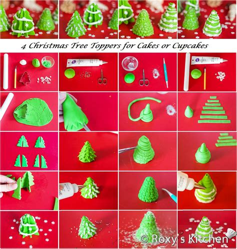 how to make fondant christmas tree toppers for cakes or