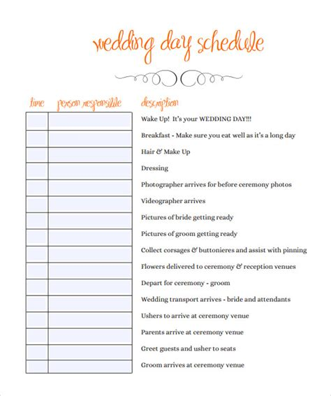 Sle Wedding Schedule 9 Documents In Pdf Wedding Itinerary Template
