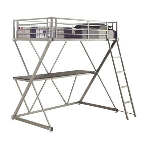coaster twin loft bed with desk coaster twin workstation loft bunk bed with desk in silver