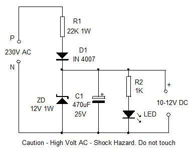 capacitor ac to dc converter simple ac dc converter simple design 16 electronics hobby