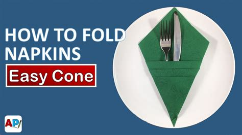 How To Fold A Paper Cone - how to fold a paper napkin easy cone napkin folding