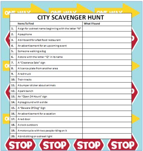 idea hunt city scavenger hunts free printable free printable