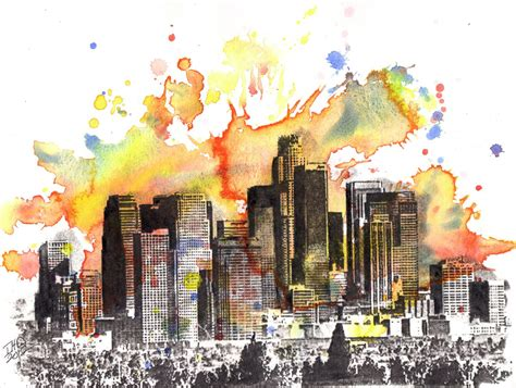 watercolor tattoo in los angeles los angeles skyline landscape painting original 8 5 x 11