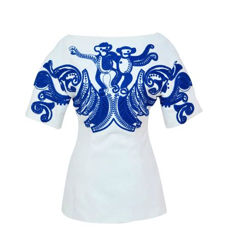As0030 Crop Blouse Salur Prada prada new embroidered monkey top exhibited at quot schiaparelli and prada quot met ny for sale at 1stdibs