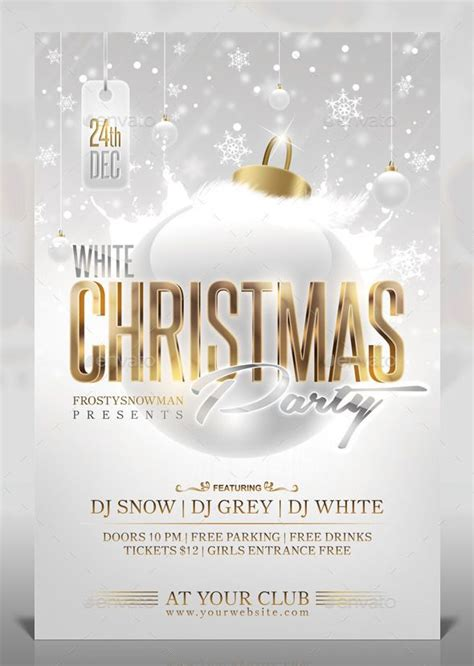 White Christmas Party Flyer Template PSD   Buy and