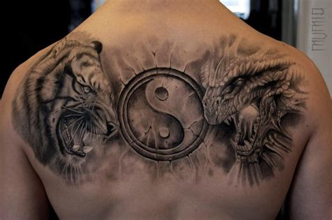 back tiger dragon tattoo by mumia tattoo