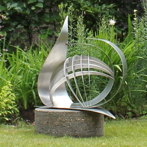 garden metal sculptures contemporary synergy stainless steel garden sculpture