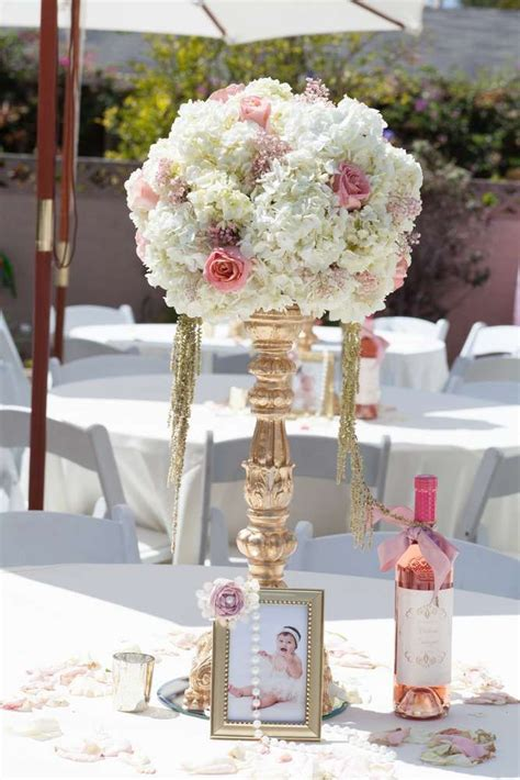 Pink And Gold Baptism Party Ideas Baptism Party Gold Centerpiece Ideas