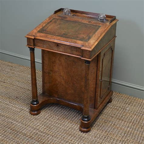 writing desk stunning figured burr walnut antique davenport